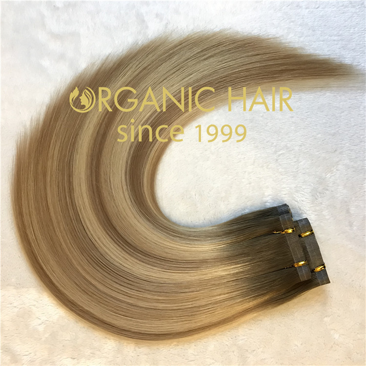 Hair extensions to order--Organic Hair Hybrid Hand-Tied  Weft  C6