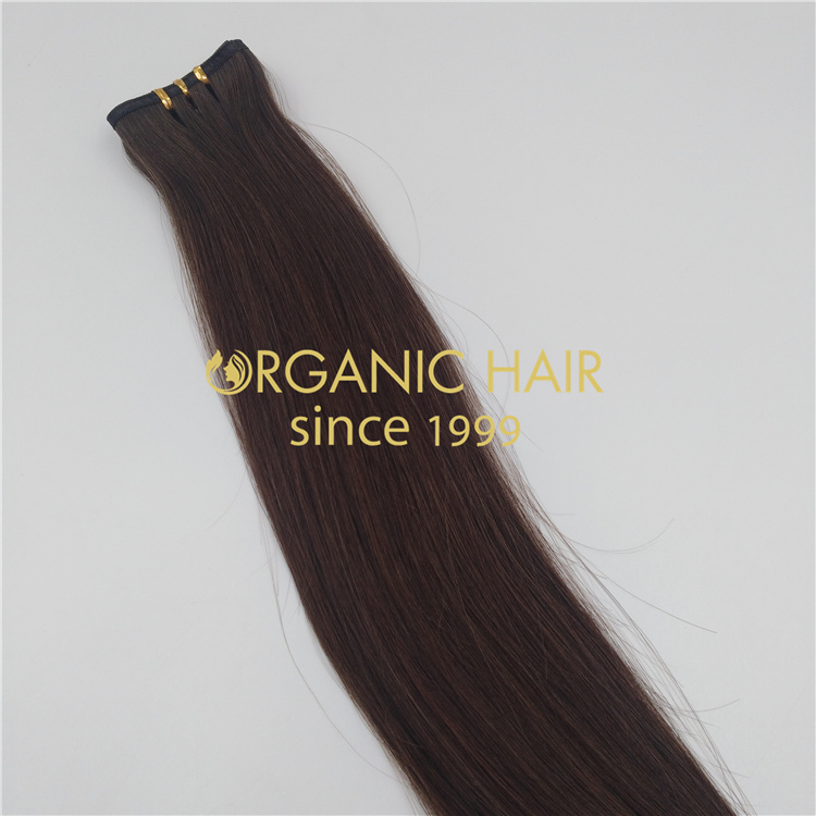 Wholesale 20 inch brown remy human flat weft hair V36