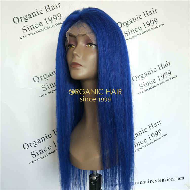Best quality Luxury Brazilian hair wigs-20 inch Blue wig GT48