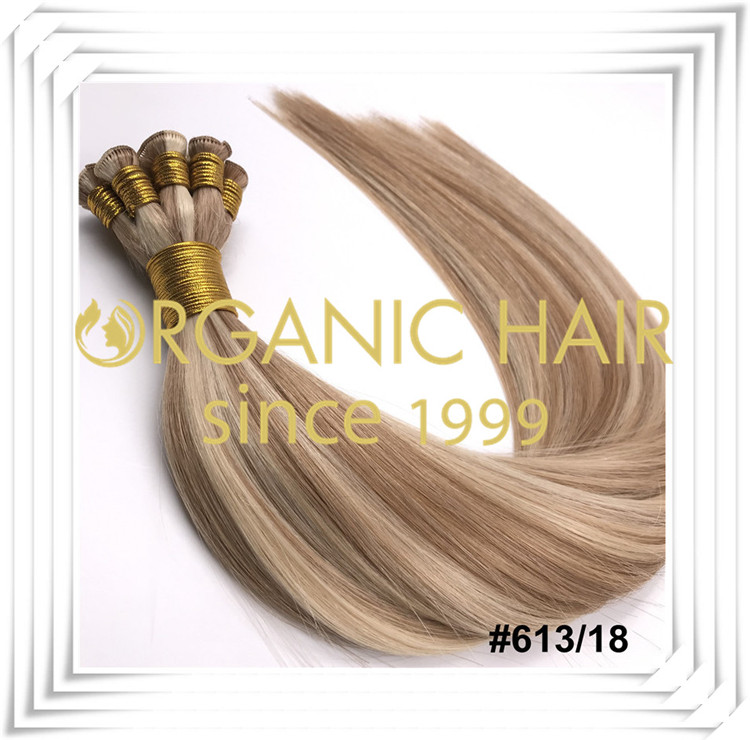#P613/18 piano color full cuticle hand tied weft C009