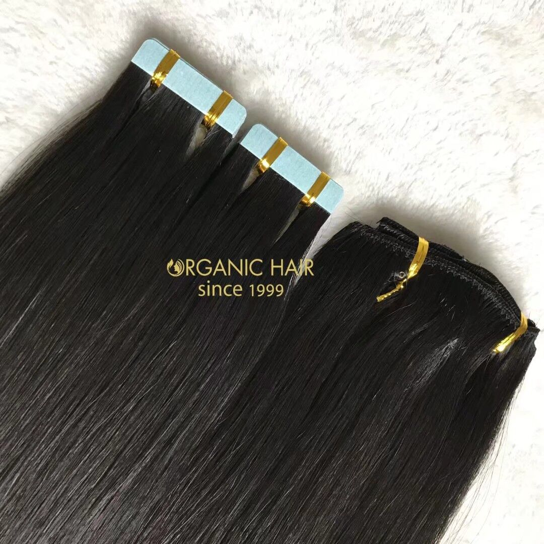 Black tape in and clip in hair extensions for high end market A162