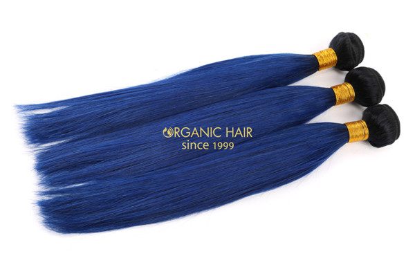 Blue human hair extensions
