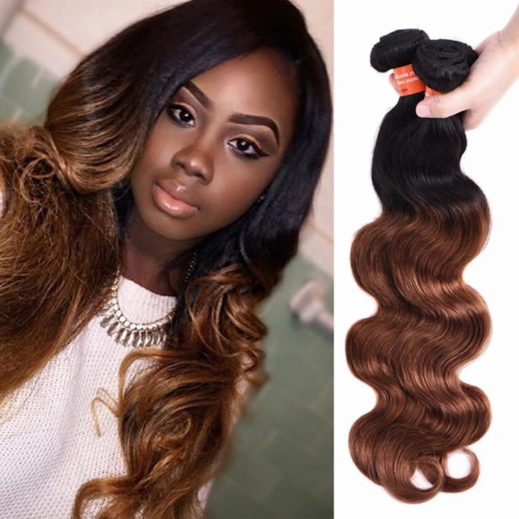 Ombre color body wave human hair weave