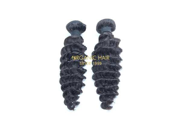 Cheap real deep wave human hair extensions