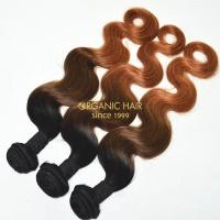 Colored human hair weave extensions