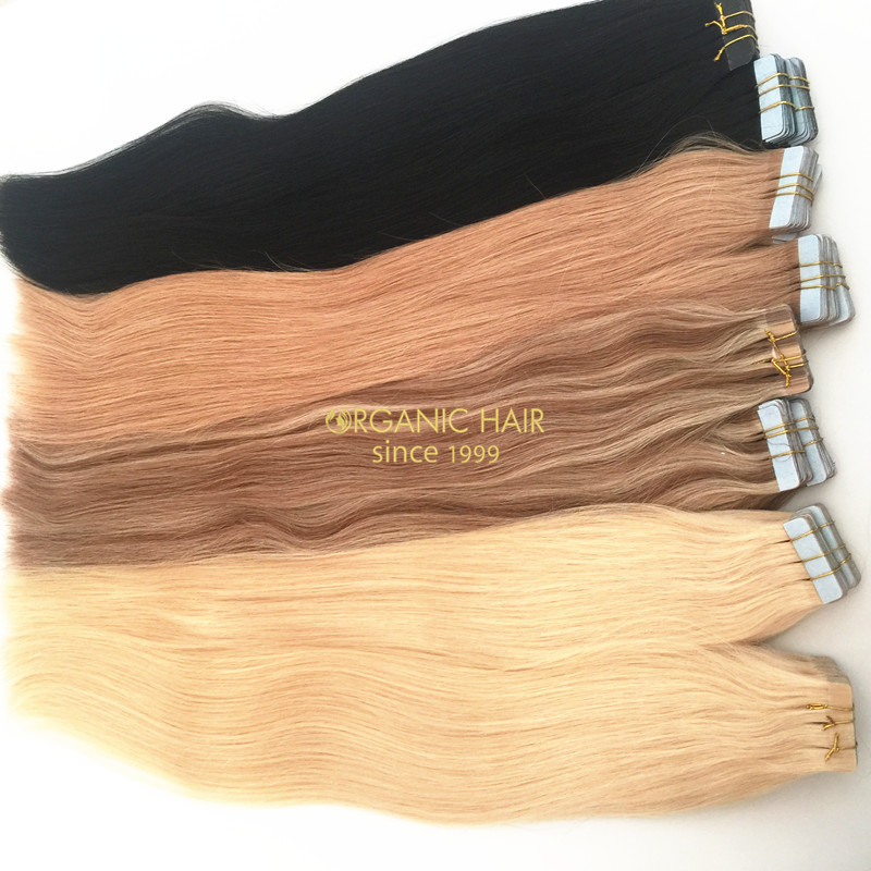 Colored indian tape hair extensions