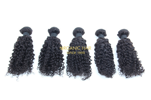 Curly black remy human hair weave