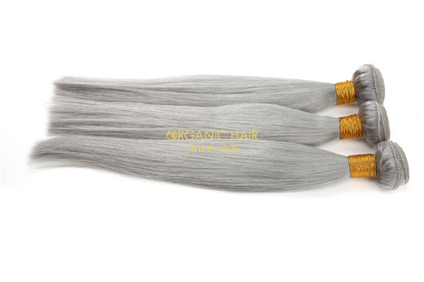Gray color virgin brazilian human hair extensions