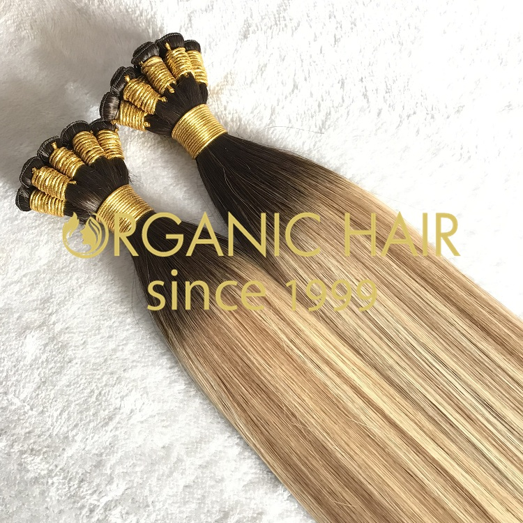 Human customized full cuticle hand tied weft on sale I1