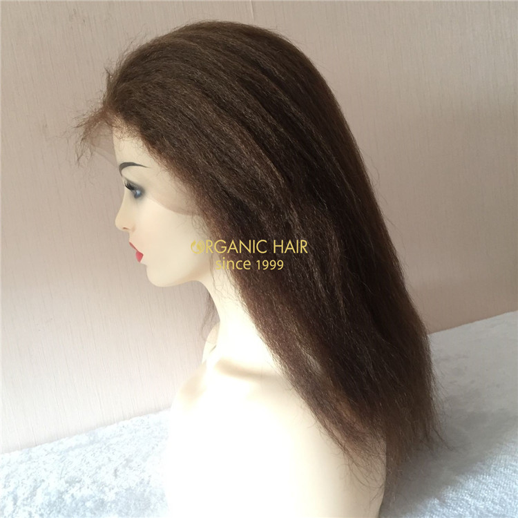 Hot Selling Hairstyle Virgin Human Hair Kinky Straight Full Lace Wig Brazilian Hai A111