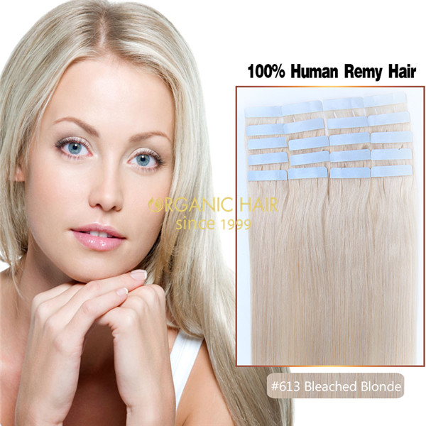 Human hair blonde tape in extensions