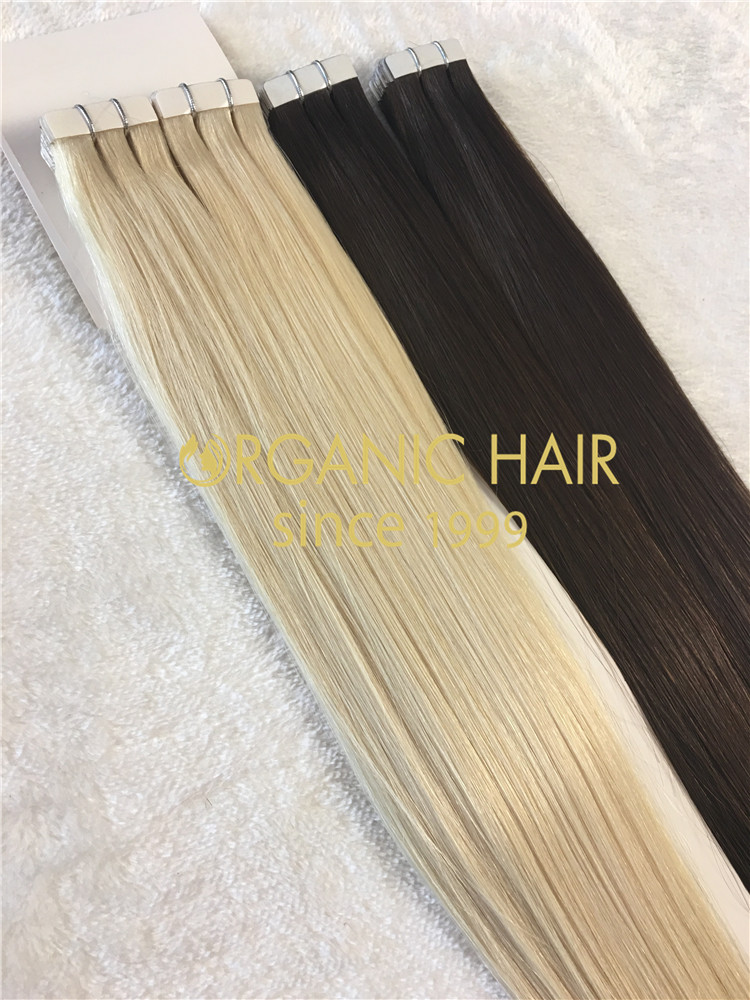 Remy human hair tape in hair extension, double drawn, all color, one donor braid hair h12