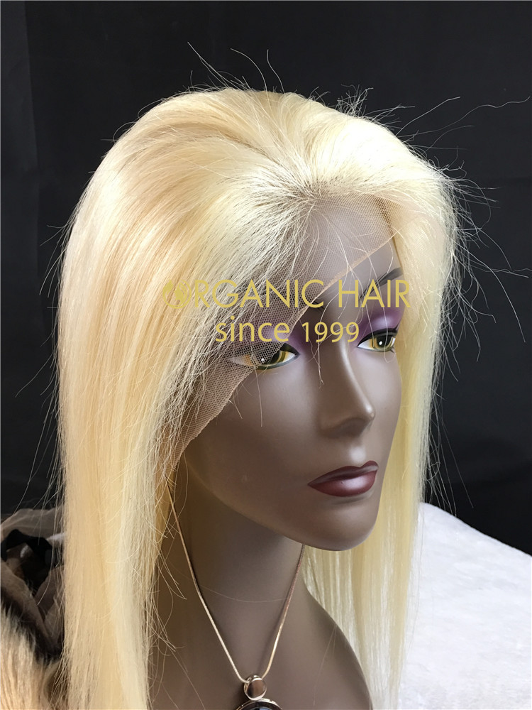 12A Virgin human hair lace front wig with silk base, #613 color, straight, 130-180% density   h16