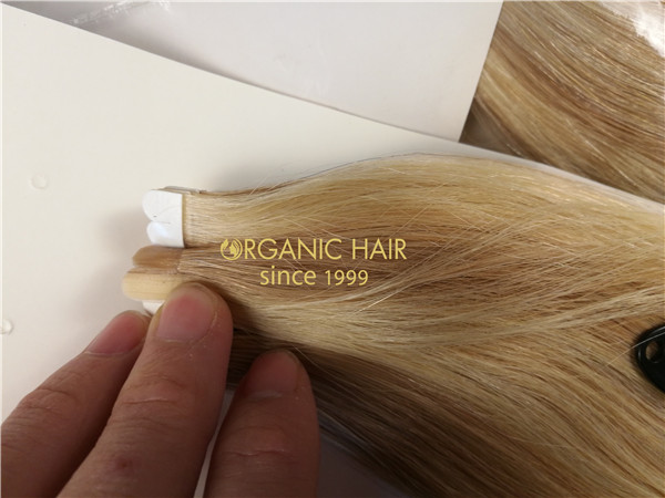 Remy human hair tape in hair extension, double drawn, #18/613 piano color, one donor braid hair  h17