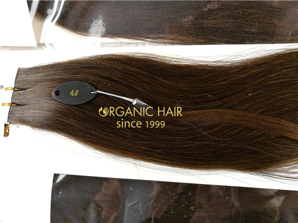 Remy human hair tape in hair extension, double drawn, #4 dark brown color, one donor braid hair  h19