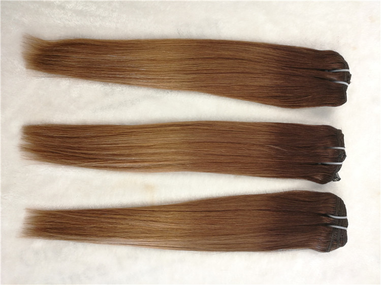 Remy human hair hand tied weft, double drawn, Balayage color #6/4/27, one donor braid hair  h21