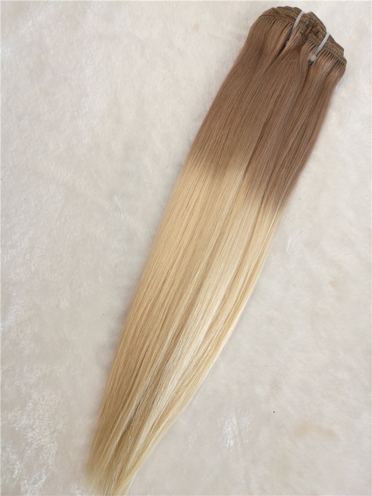 Remy human hair hand tied weft, double drawn, Ombre color #2/60 , one donor braid hair  h21