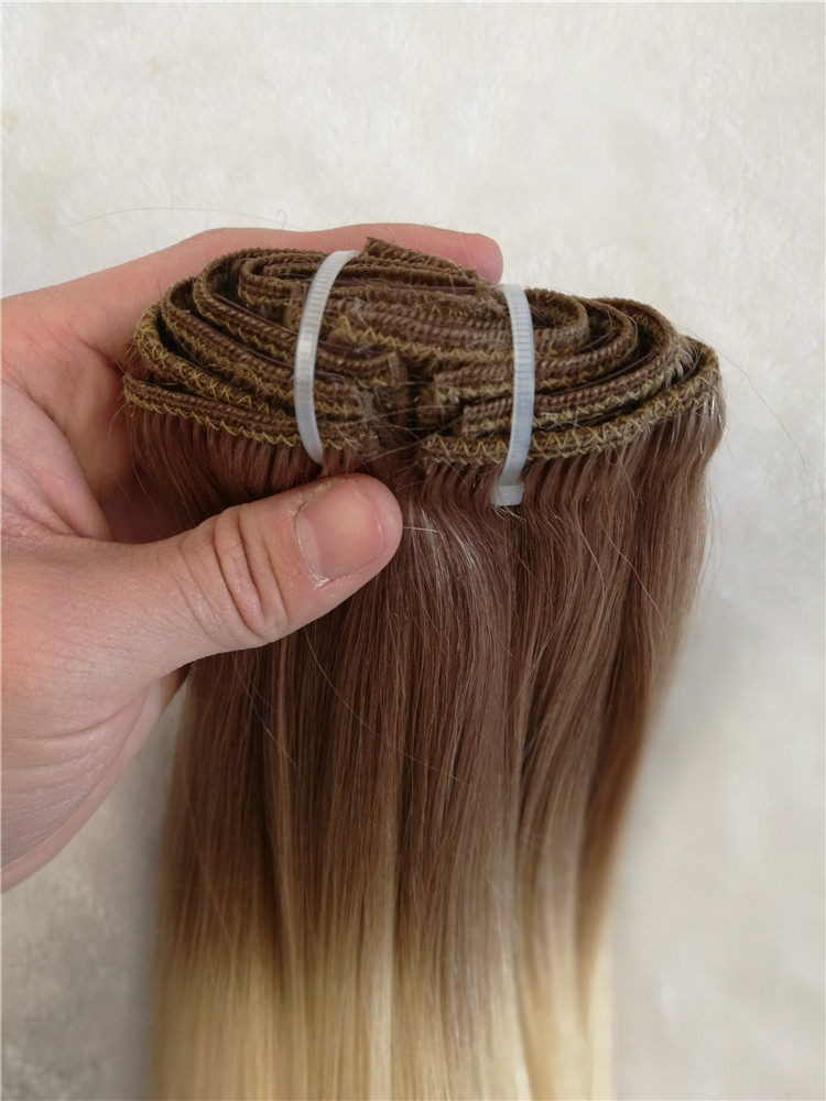 Remy Human Hair Clip Ins Hair Extension Double Drawn Ombre Color