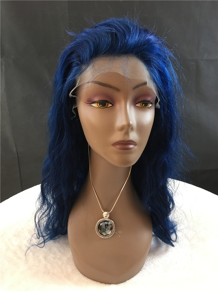 12A Remy hair full lace wigs, blue color, body weave, 130% density h27