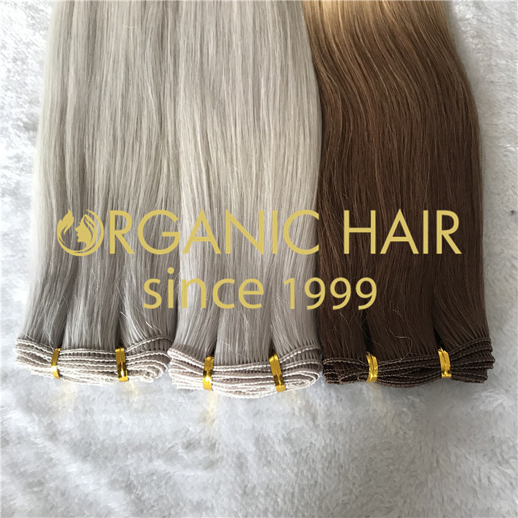 Full cuticle human hair hand tied wefts in stock H150