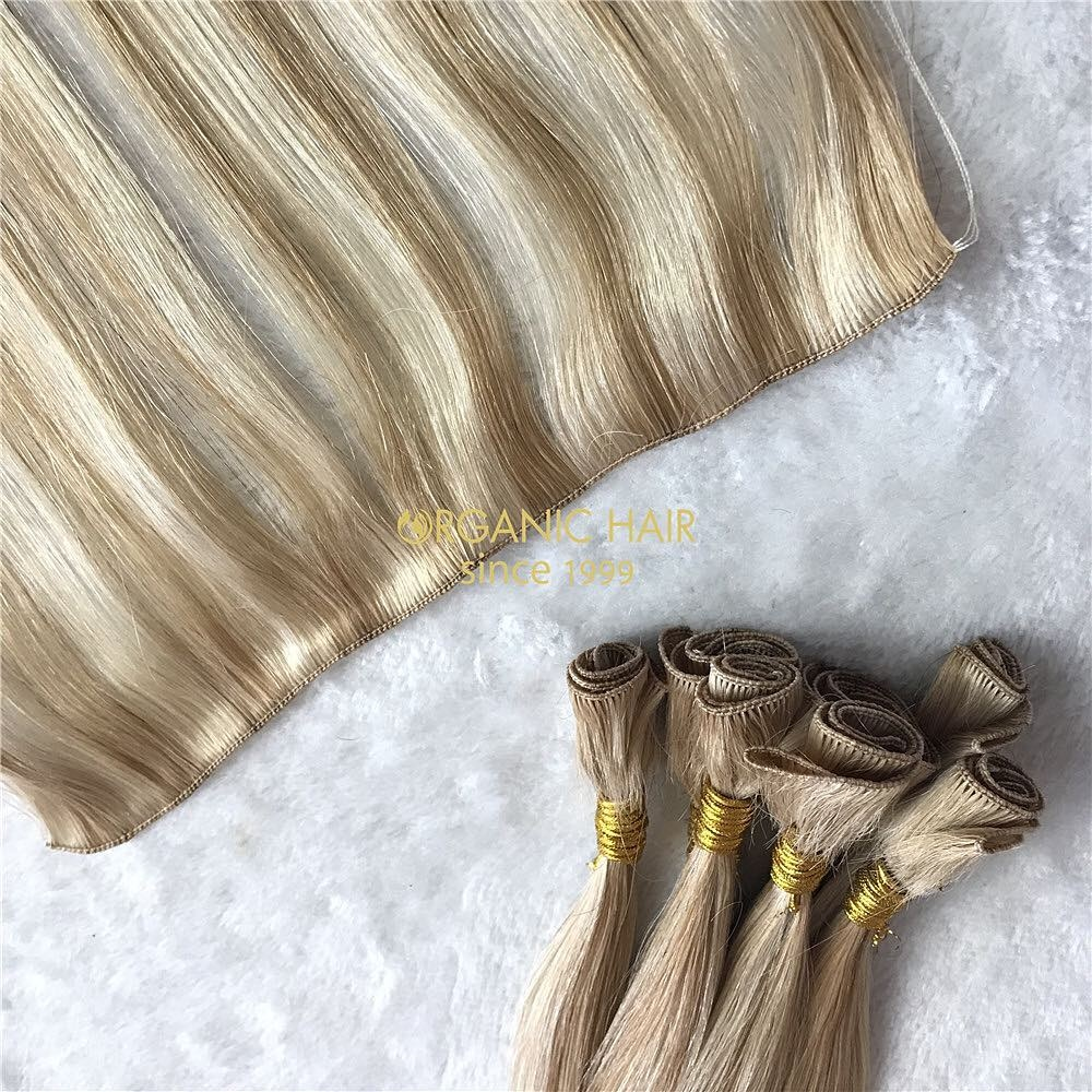 Cuticle intact hand tied wefts detail and raw material A170