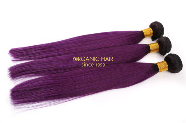 Purple color virgin remy human hair extensions
