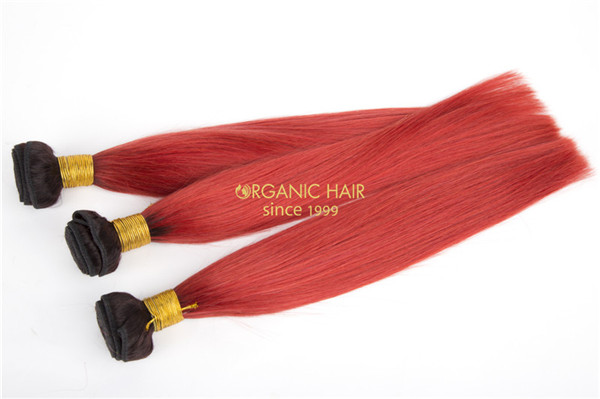 Red color virgin human hair extensions