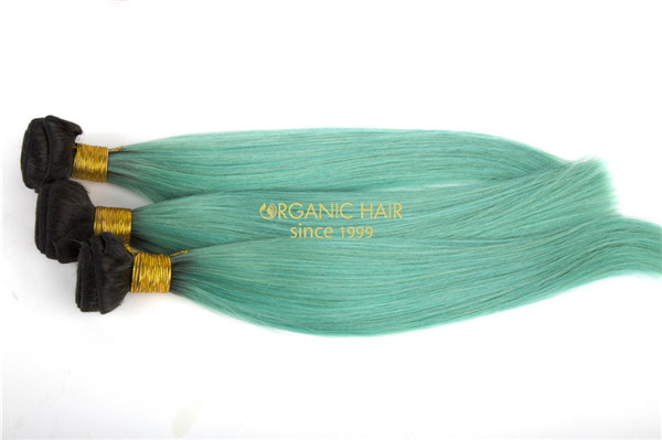 Sky blue color virgin brazilian hair extensions