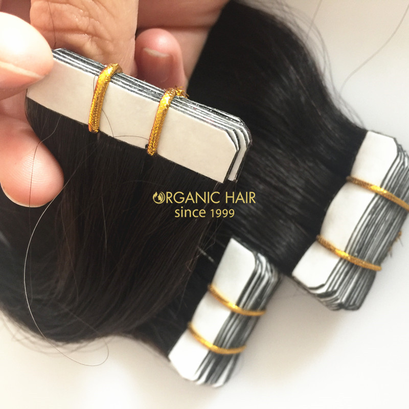 Virgin indian tape in hair extensions