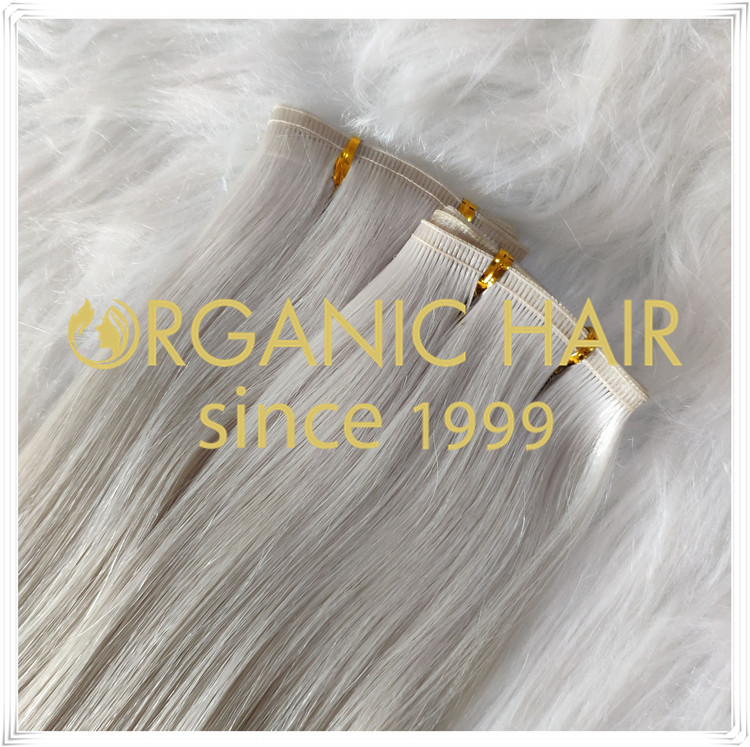 White blonde #60A seamless weft hair weft C058