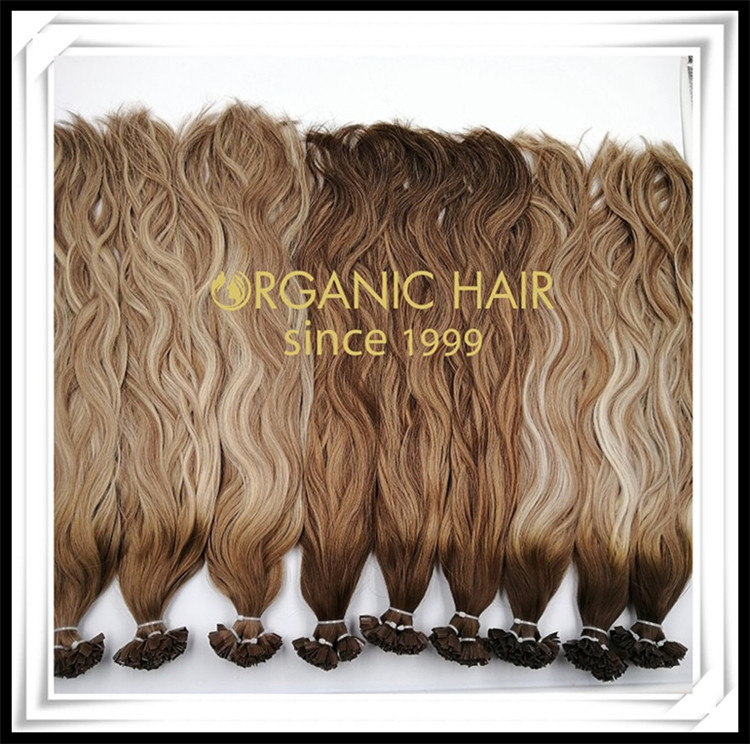 Balayage color natural wave V tip hair extensions C064