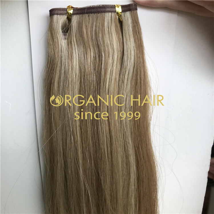 Cool ashy piano color hybrid weft extensions H311