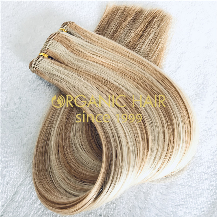 Custom piano hand tied extensions:full cuticle hair H177