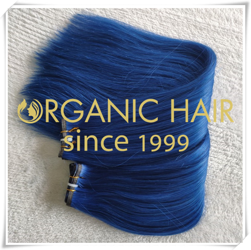 Beautiful blue color flat weft hair extensions C050