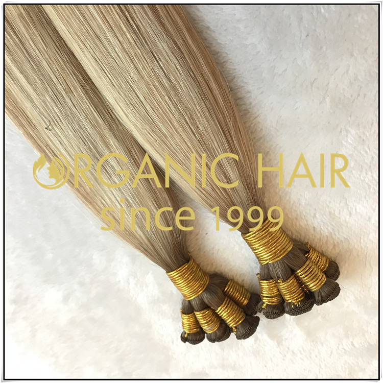 Cuticle hair beautiful color hand tied weft C019