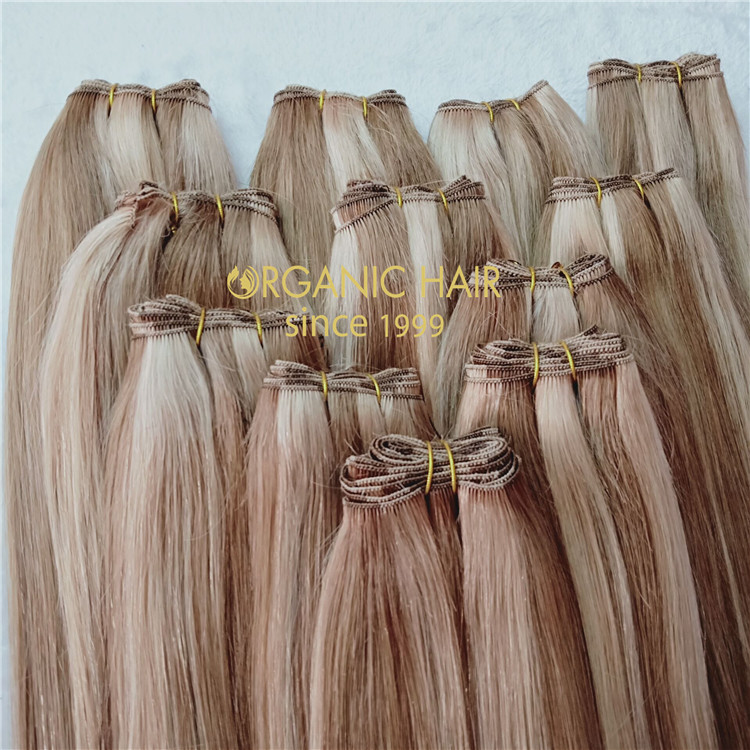 Russian remy hair handtied weft full cuticle intact C95