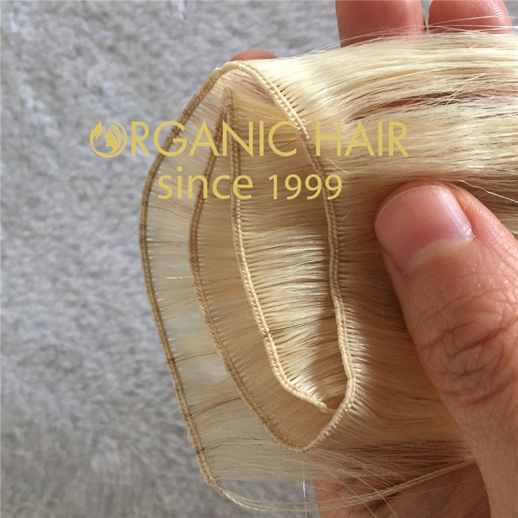 Show you the details of handtied weft : 22inches ,12.5g per weft , width 12inches C66