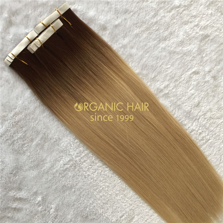 Human rooted color pu skin weft  X197