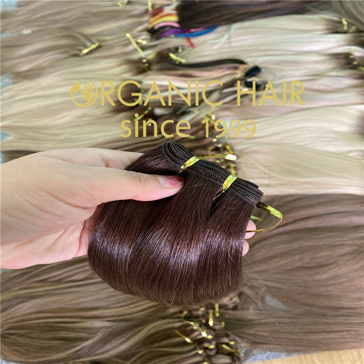 Human remy hair hand tied weft with full cuticle intact  C113