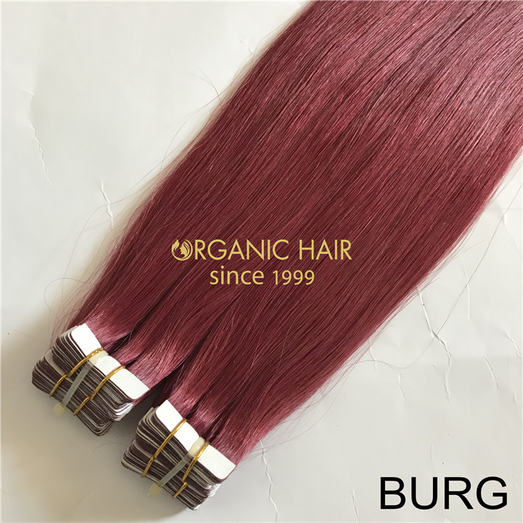 Remy best tape in hair extensions BURG color X187