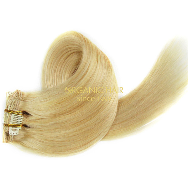 Wholesale remy hair blonde clip in hair extensions #613