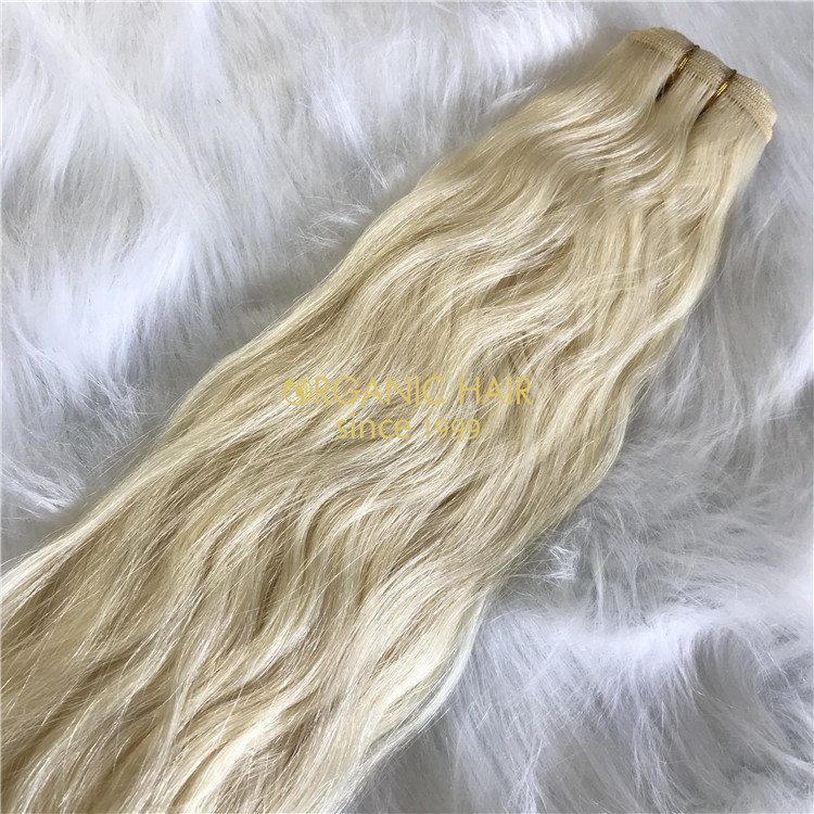 Human full cuticle machine wefts blonde natural wave X205