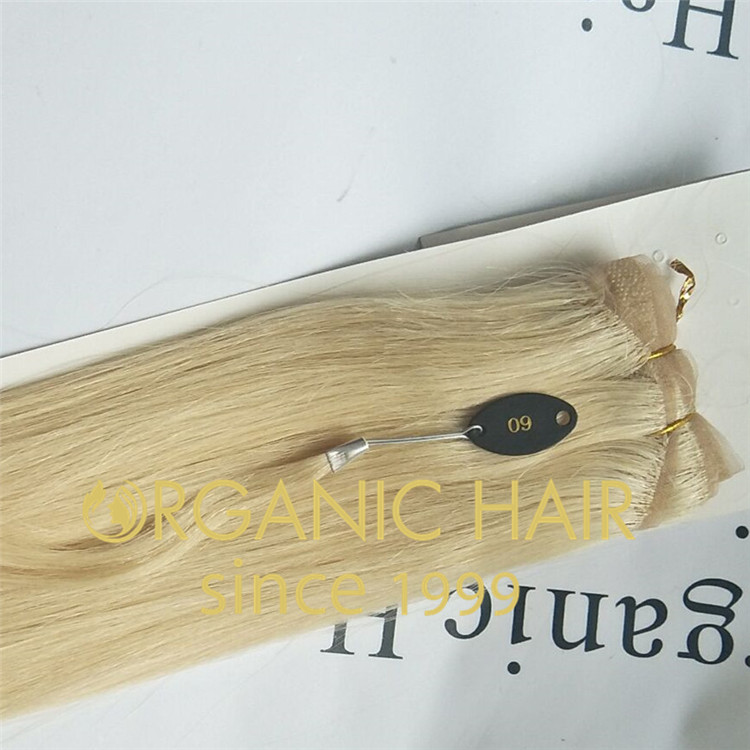 Blonde 100% virgin human 0high-end customized lace hand tied weft  A57