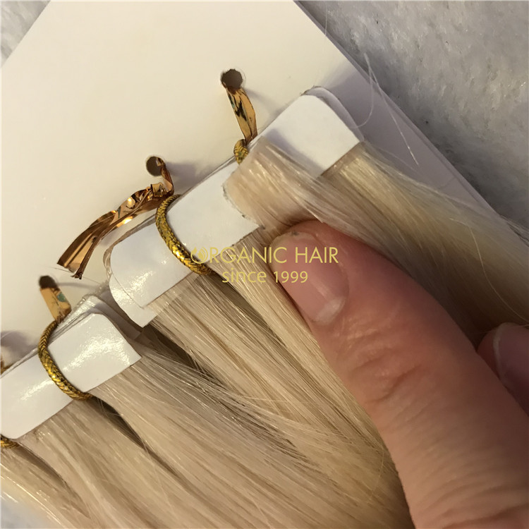 Hot sale human blonde color invisible tape in hair X308