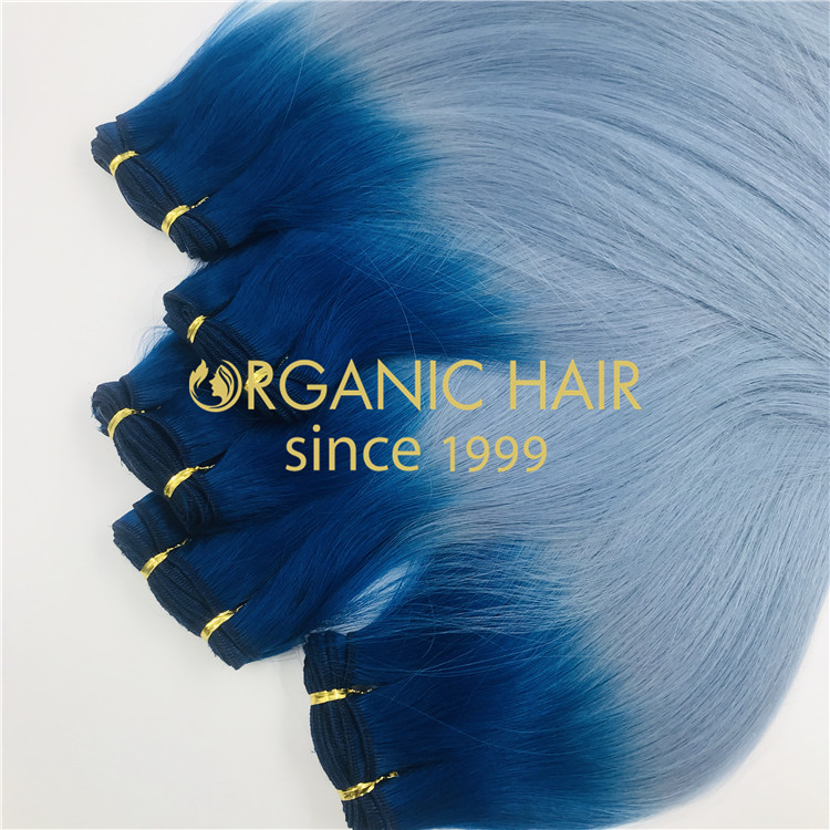 High quality custom blue machine weft Extenions  H283