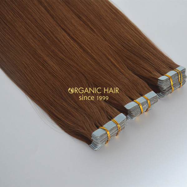 Brown hair extensions seamless tape on hair extensions