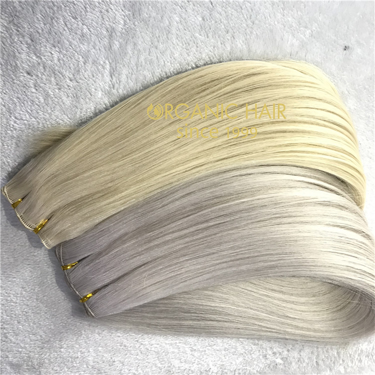 Full cuticle remy human hair extensions-- hand tied weft #60#60A  C45