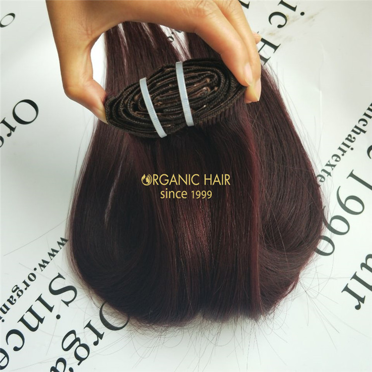 The clip in human remy hair extension uk #99j  X54