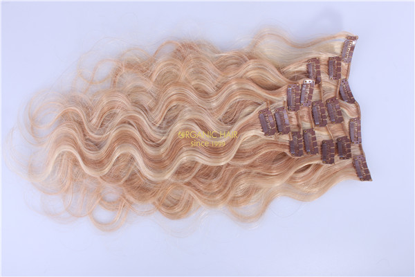 Clip in hair P18/613 hair extension supplies