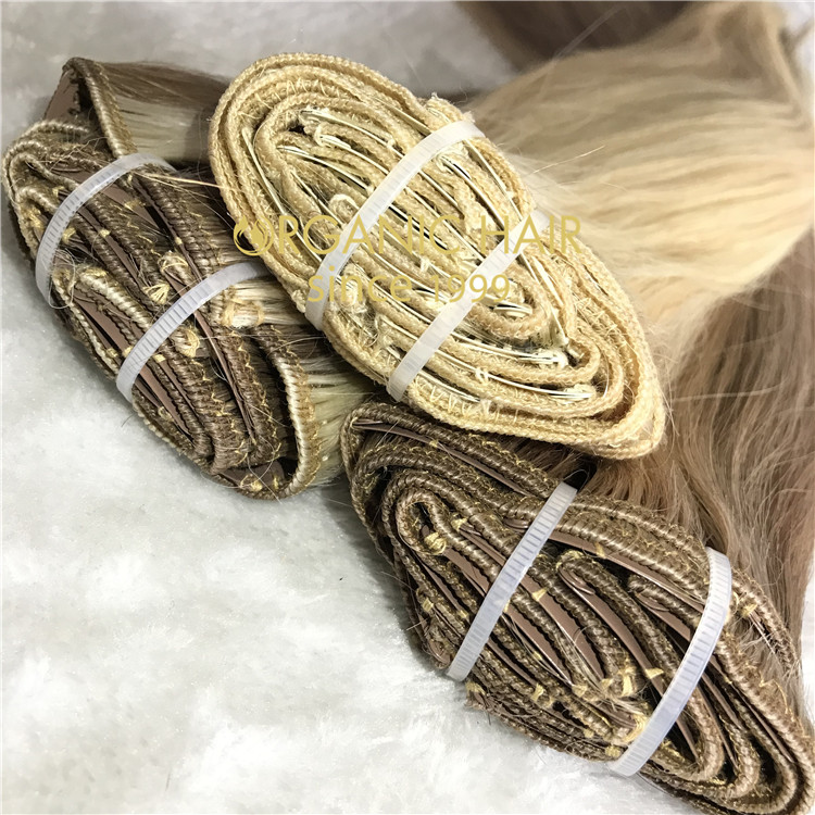 Full cuticle double drawn custom color clip in hair extensions CC125